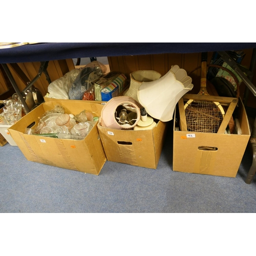 92 - Mixed household items including glassware, pottery lamps, bedding, vintage tennis racket etc (4 boxe...