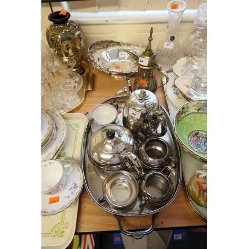 44 - Victorian silver plated teapot, table basket, other plated tea wares, galleried tray and a Turkish c...