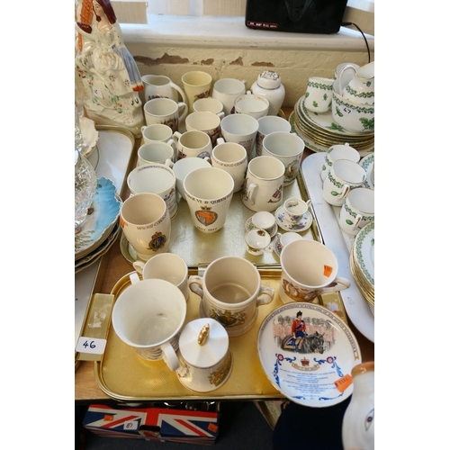 46 - Collection of Royal commemorative china including cups, jugs, tankards etc (2 trays)...