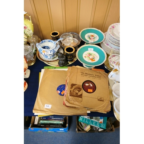 52 - Small selection of 78rpm records, mixed ceramics including blue and white sauce tureen...