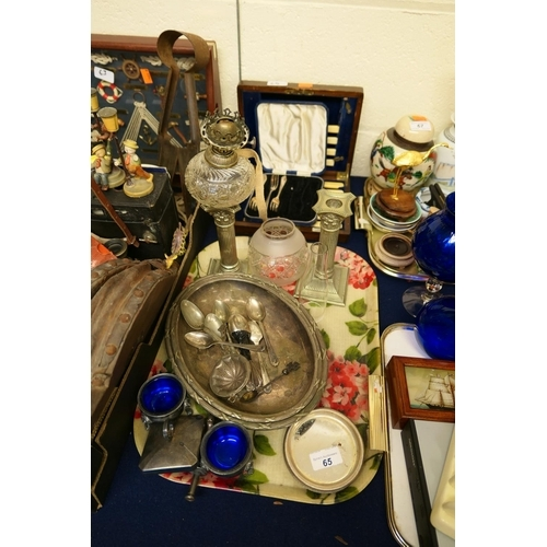 65 - Small amount of silver plated wares including dwarf candlesticks, boxed cutlery etc...