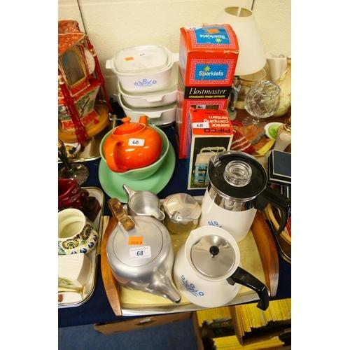 68 - Retro items including Piquot ware tea service on a tray, soda syphon, Pyrex etc...