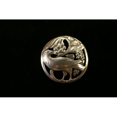 326 - Georg Jensen silver bird and berry brooch, numbered 175...