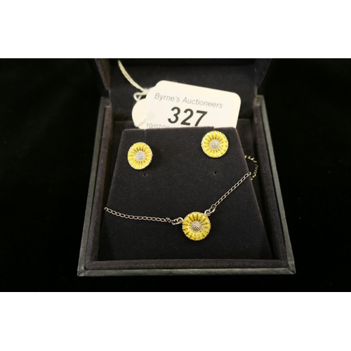 327 - Georg Jensen silver enamelled sunflower anklet and matching earrings...