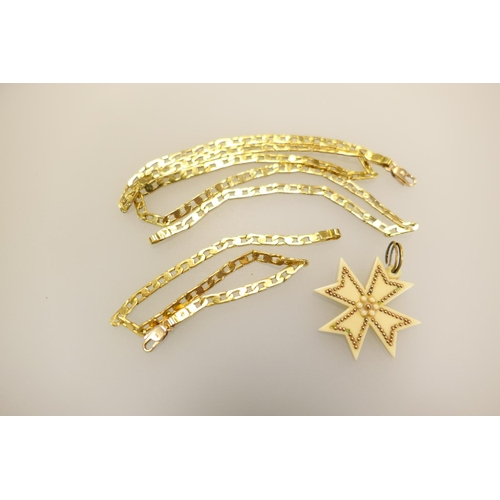 341 - Maltese 14ct gold flat curb link necklace supporting a celluloid Maltese cross pendant; also matchin...