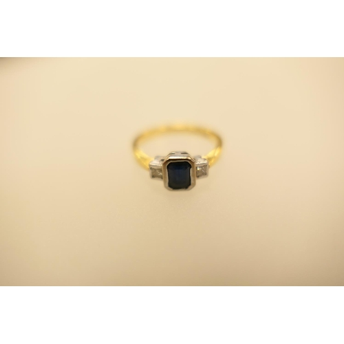 358 - Diamond and sapphire three stone ring in 18ct white and yellow gold, gross weight 3.4g...