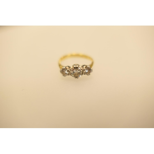 359 - Diamond three stone ring in 18ct white and yellow gold, central stone approximately 0.5ct, weight 3....