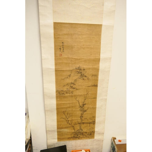 452 - Chinese scroll painting mounted on silk, signed...