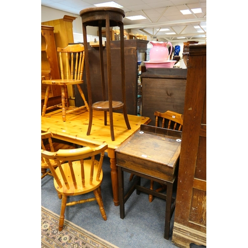 592 - Edwardian oak student's desk and two tier jardiniere stand (2)...
