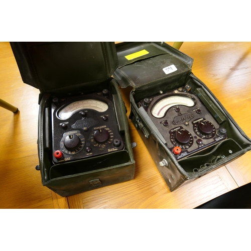 599 - Two Second World war period cased Universal AVO meters...