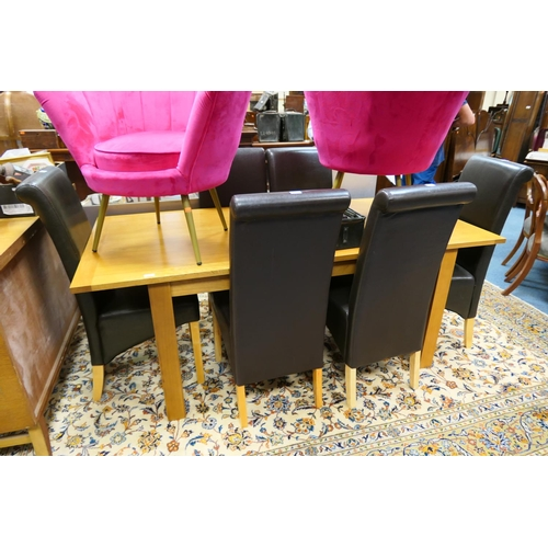 600 - Modern oak extending dining table and six brown leather upholstered high back dining chairs...