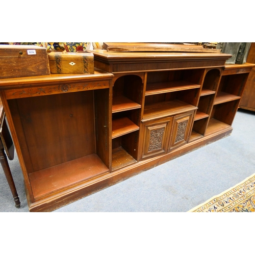 605 - Late Victorian walnut open bookcase, by Rumney & Co., Liverpool...