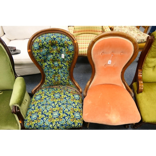 629 - Victorian mahogany and upholstered spoon back lady's salon chair; also a further spoon back lady's s...
