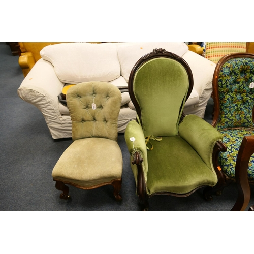 630 - Victorian mahogany and green fabric upholstered spoon back armchair and a further Victorian and upho...