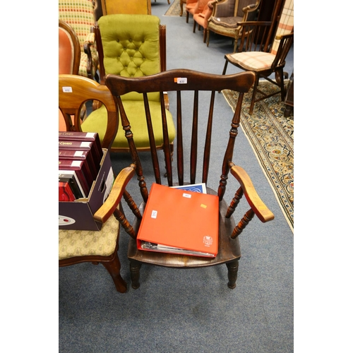 633 - Victorian stained beech stick back armchair...