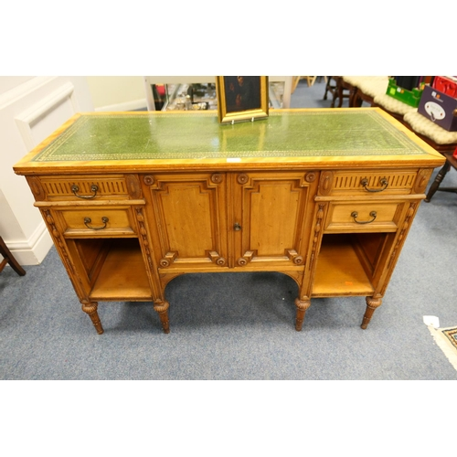 635 - Victorian satinwood and walnut leather topped side cabinet...