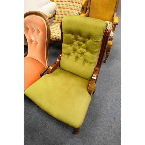 628 - Victorian mahogany framed and green fabric upholstered nursing chair...