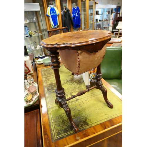 649 - Victorian burr walnut sewing table...