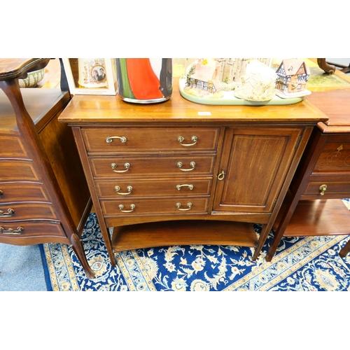 654 - Edwardian mahogany music cabinet...