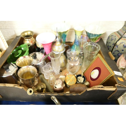 10 - Miscellany including lady's leather compact, Corona ware vases, glassware, silver plated ware etc...