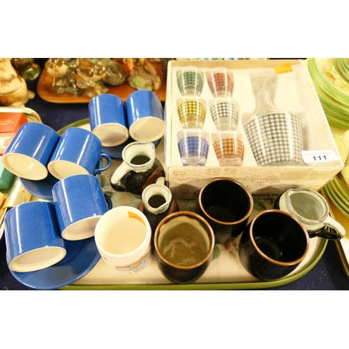 111 - Moorcroft Powder Blue coffee cups and saucers; also Japanese stoneware Saki cups, vintage liqueur se...