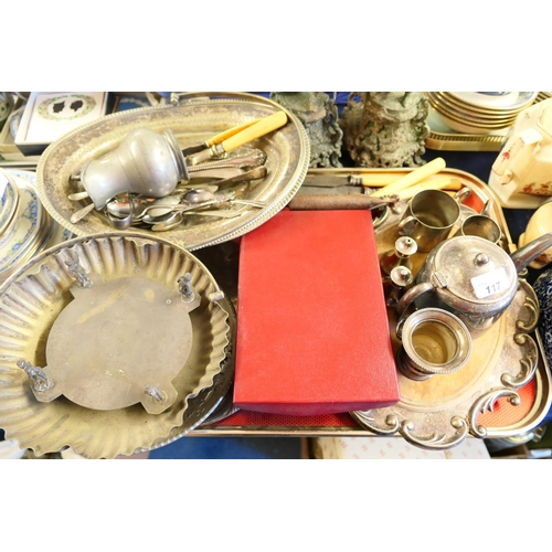 117 - Silver plated three piece tea service and further silver plate including serving dishes, flatware; a...