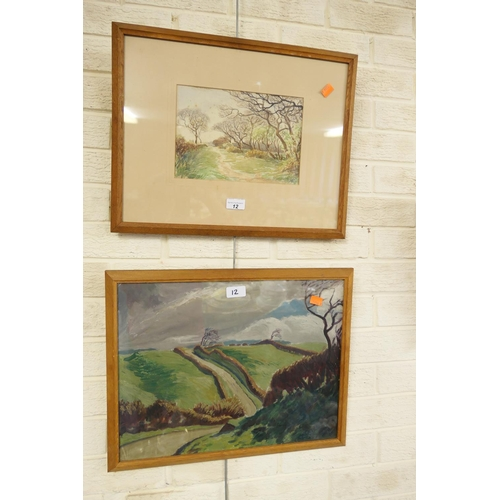 12 - H. Ogle, 1934, oak framed oil on canvas; also further oak framed watercolour by the same artist (2)...