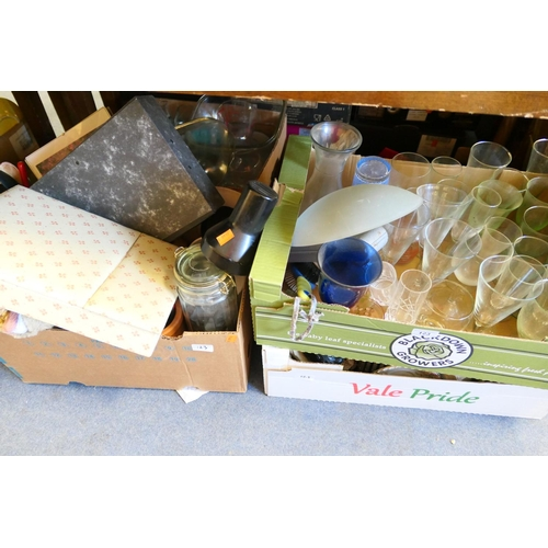 123 - Household glassware, drinking glassware and household miscellany including storage jar (5 boxes)...