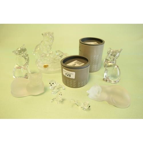 125 - Lenox crystal glass cat ornaments and Swarovski crystal cat ornaments (8)...