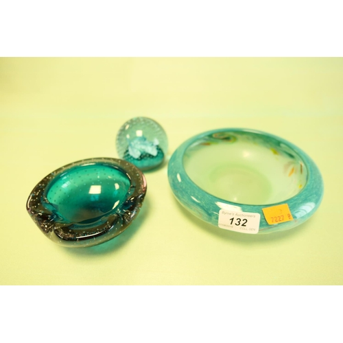 132 - Vasart glass shallow bowl; also Whitefriars ashtray and Caithness cauldron paperweight (3)...