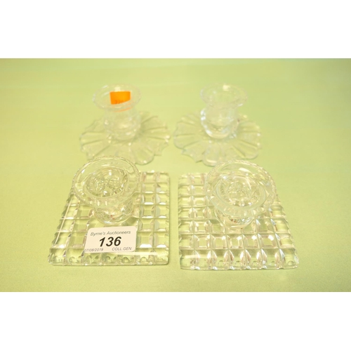 136 - Two pairs of cut lead crystal dwarf candlesticks...