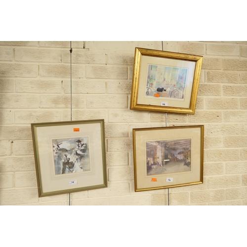14 - Framed watercolour, gilt framed Sir William Russell Flint print; also gilt framed limited edition pr...