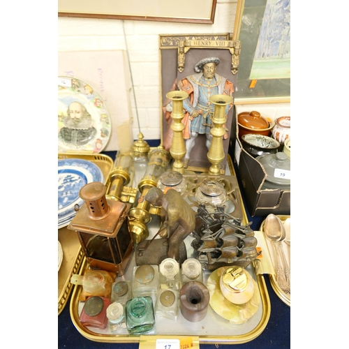17 - Two silver lidded glass jars, pair of Victorian brass candlesticks, further candlesticks; also inkwe...