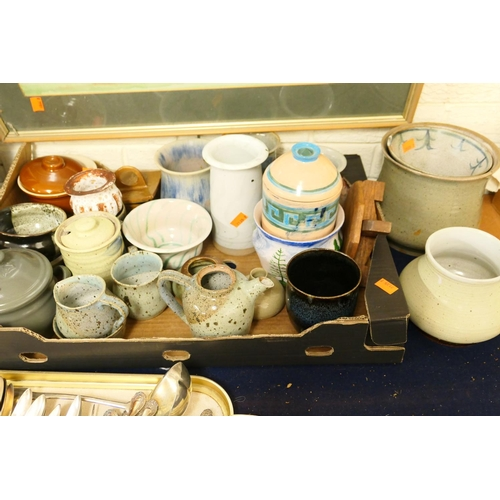 19 - Art Pottery including vases; also coffee wares, kitchenalia (1 tray)...