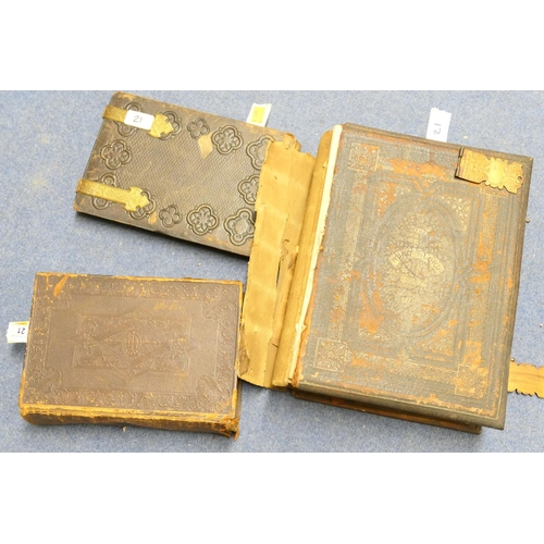21 - Victorian leather bound photograph album, Victorian leather bound family Bible and a further leather...