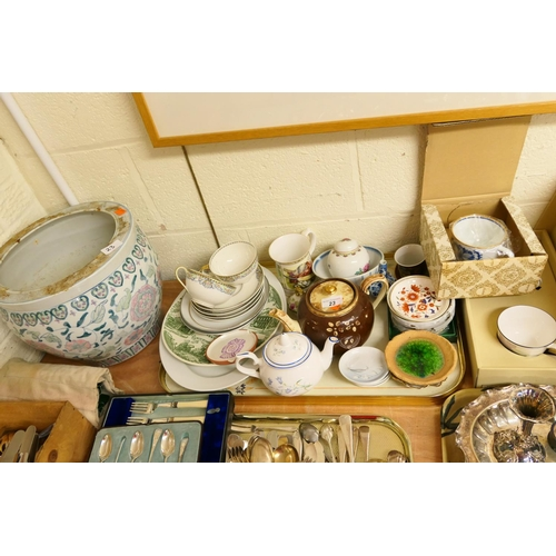 23 - Mixed ceramics including Danish pin dishes; also an Oriental jardiniere...