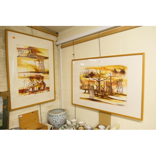 24 - M L Drammeh, two framed African paintings...