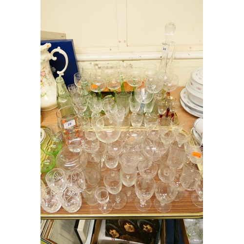 29 - Quality cut glassware including hock glasses, tumblers, decanter etc (2 trays)...