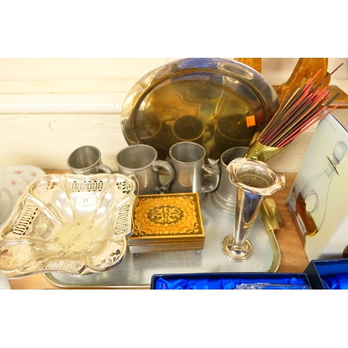 31 - Silver plated serving basket, serving tray and specimen vase; also pewter tankards, marquetry box et...