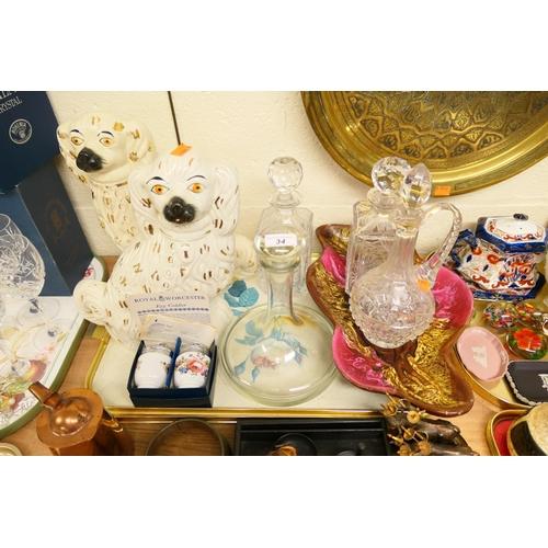 34 - Pair of Staffordshire spaniels, Edinburgh Crystal spirit decanter, further decanters, retro serving ...