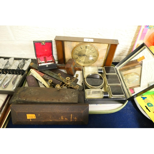 4 - Vintage mantel clock, travelling vanity case, spirit level, other tools etc...