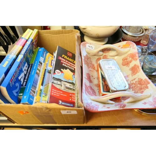 40 - Travel maps and guides; also reproduction ironstone dish and two Rolls Razors...