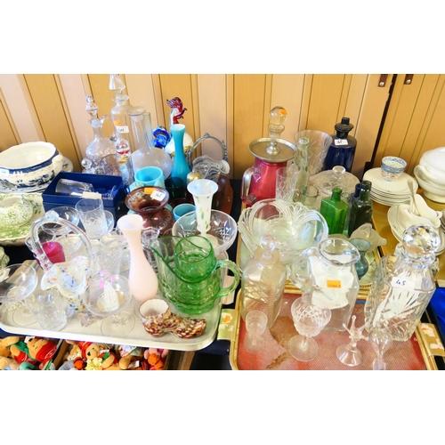 45 - Decorative glassware including Murano glass cockerel, Victorian and later glassware including Cranbe...