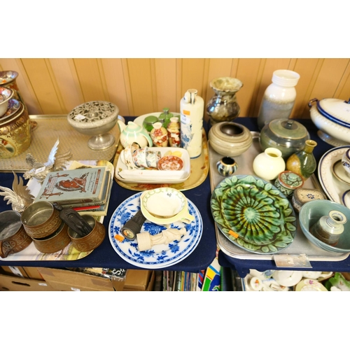 48 - Eastern tinned copper mug, matching bowls, rosebowl, vintage books, photographs, ornaments, Art Pott...