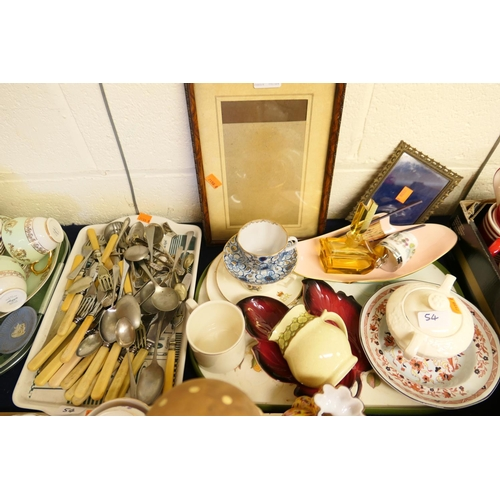 54 - Silver plated and other flatware; also Russian porcelain cup and saucer, mid-Century style scent bot...