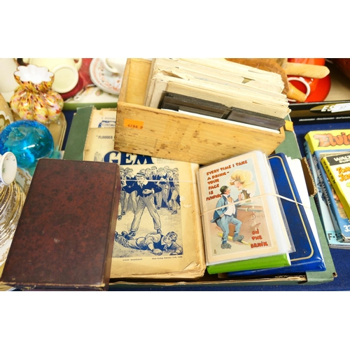 56 - Humorous postcards, photographic negatives, ephemera, boxed Bible and prayer book...