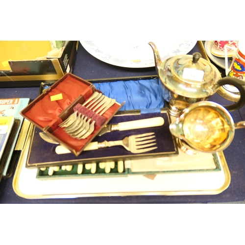 59 - Silver plated three piece tea service and assorted boxed flatware...