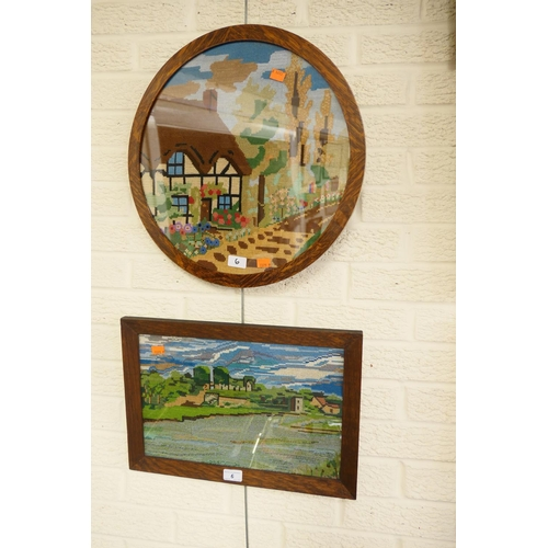 6 - Two oak framed embroideries...