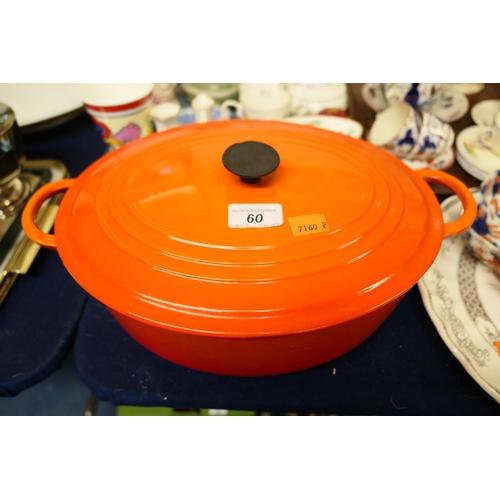 60 - Le Crueset cast iron casserole dish...