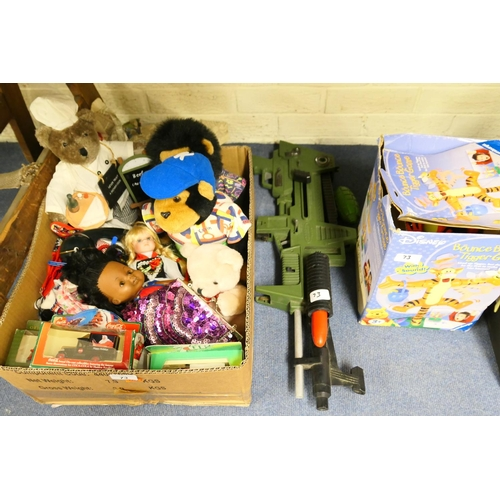 73 - Mixed dolls, boxed model cars, soft toys, toy gun...